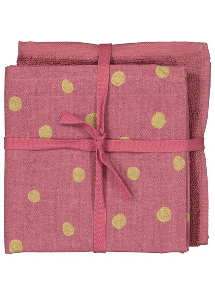 2 tea and kitchen cloths pink/gold - 5490024 - hema