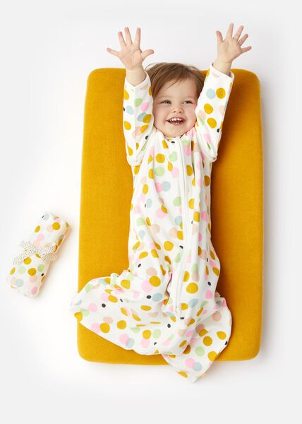 baby sleeping bag with bamboo - non-padded - zip-off sleeve - dots white white - 1000018085 - hema