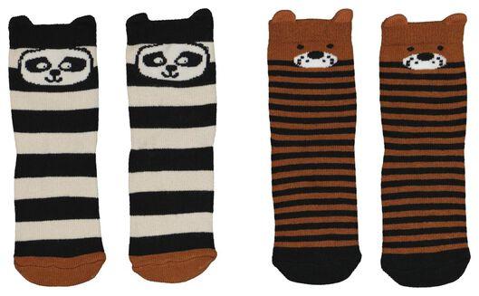 2-pack baby socks with bamboo brown brown - 1000020279 - hema