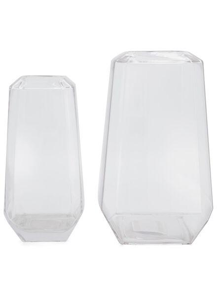 vase 26 cm - facettes - verre - 13392025 - HEMA