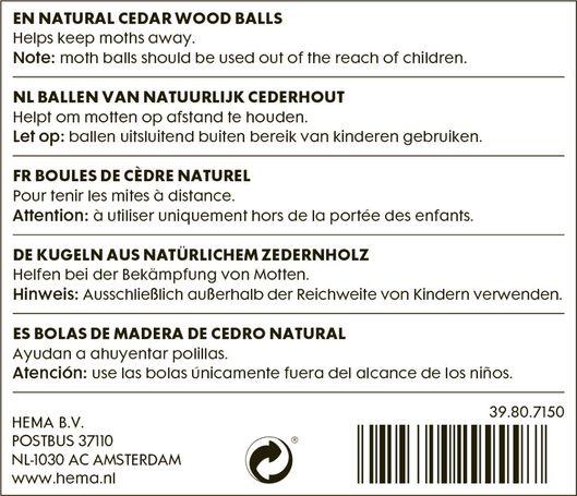 Zedernholz-Mottenkugeln - 39807150 - HEMA
