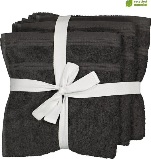 4 towels - 50 x 100 cm - cotton with rPET - dark grey - 5230002 - hema
