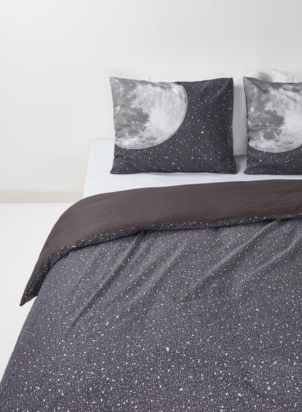 housse de couette-coton doux-140x200cm-gris foncé étoiles - 5700059 - HEMA