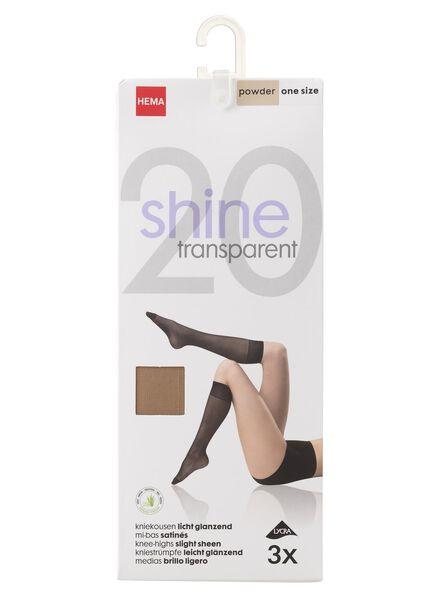 3-pack knee-socks shiny 20 denier powder one size - 4022546 - hema