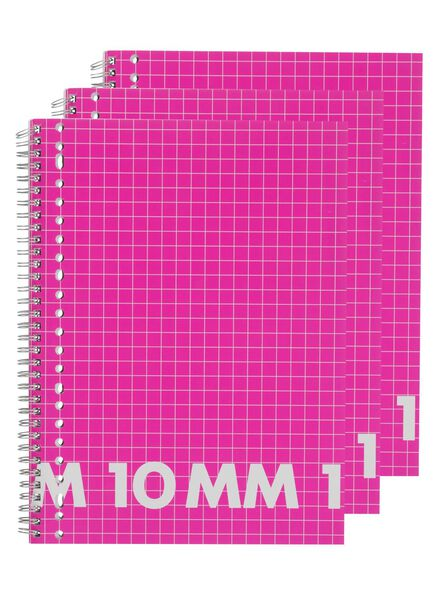 3-pack A4 size lecture notebooks squared 10 mm - 14522523 - hema