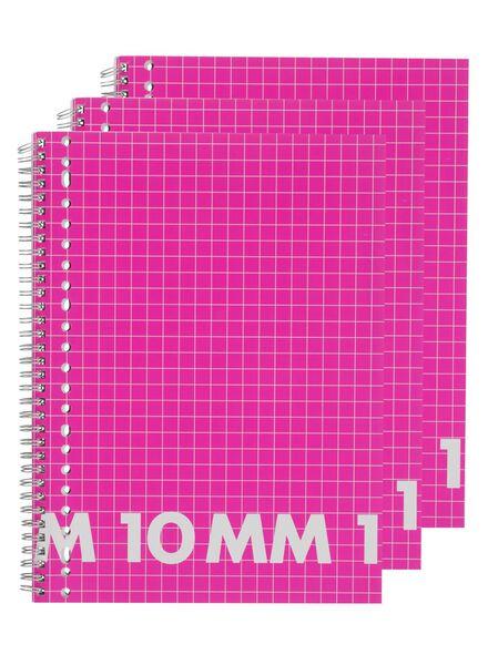 3er-Pack karierte (10 mm) Collegeblocks, DIN A4 - 14522523 - HEMA