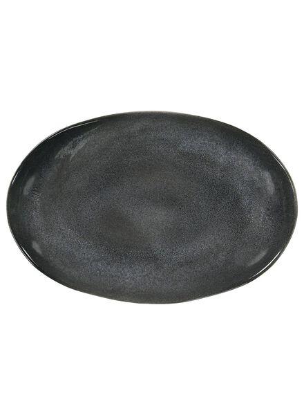 serving plate 30x20 - Porto reactive glaze - black - 9602036 - hema