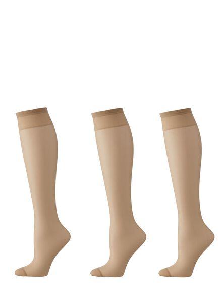 3-pack knee-socks mat 20 denier natural one size - 4022561 - hema