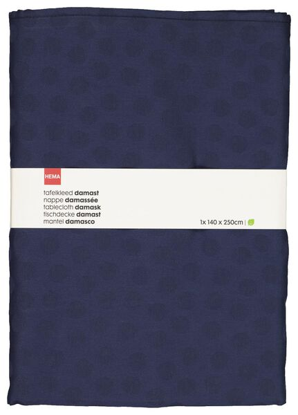 tablecloth 140x250 damask cotton - blue dot - 5300087 - hema