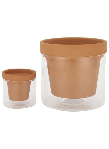 pot en terre cuite à réservoir d'eau avec verre - Ø 15 cm - 13391037 - HEMA