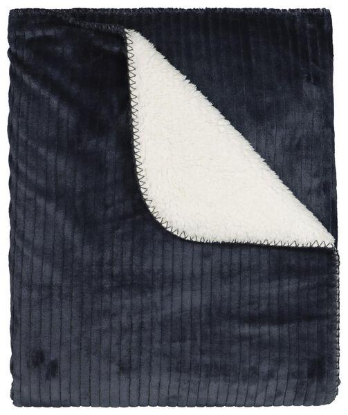 plaid côtelé 130x150 - sherpa - bleu - 7322031 - HEMA
