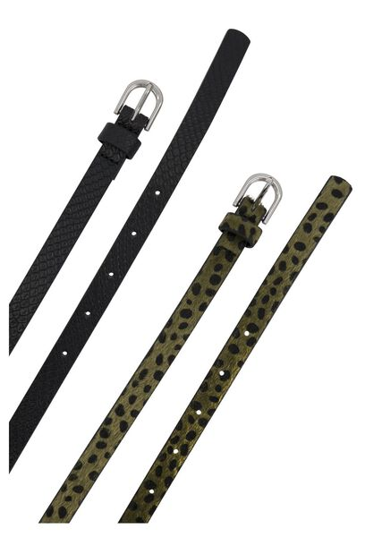 2er-Pack Damen-Gürtel, Kroko/Leopard grün grün - 1000023194 - HEMA
