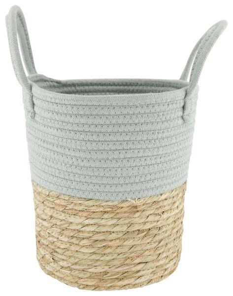 basket with handles Ø25x24 natural/mint - 39811132 - hema