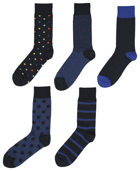 5-pack men's socks dark blue dark blue - 1000019937 - hema