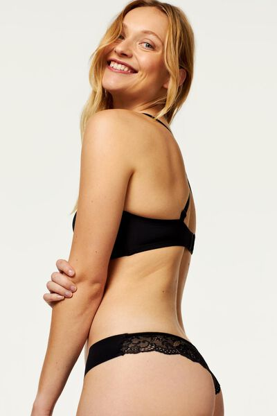 women's thong micro lace black black - 1000018625 - hema