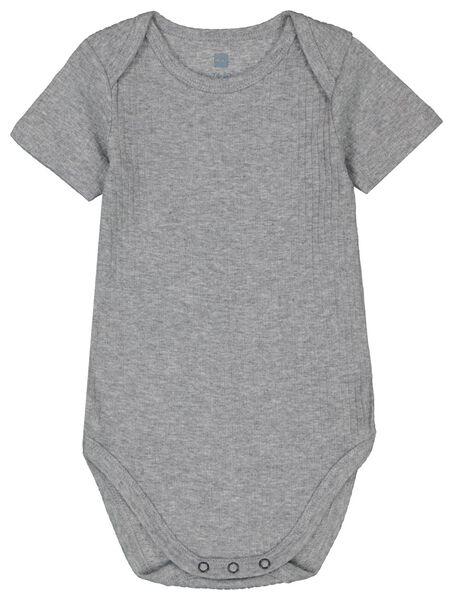 Baby-Body mit Bambus, elastischer Feinripp graumeliert graumeliert - 1000022905 - HEMA