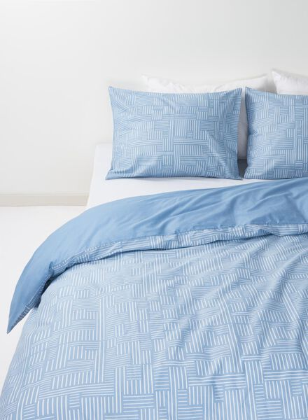 housse de couette-coton doux-240x220cm-bleu imprimé - 5750012 - HEMA