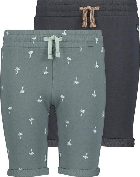 2er-Pack Kinder-Sweatshorts grün grün - 1000019144 - HEMA