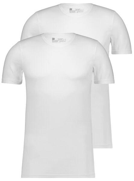 HEMA 2er-Pack Herren-T-Shirts, Slim Fit, Rundhalsausschnitt, Nahtlos Weiß