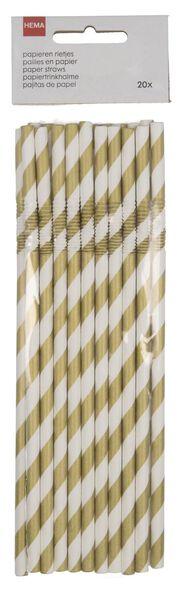 20 pailles en papier flexibles blanc - 14200520 - HEMA