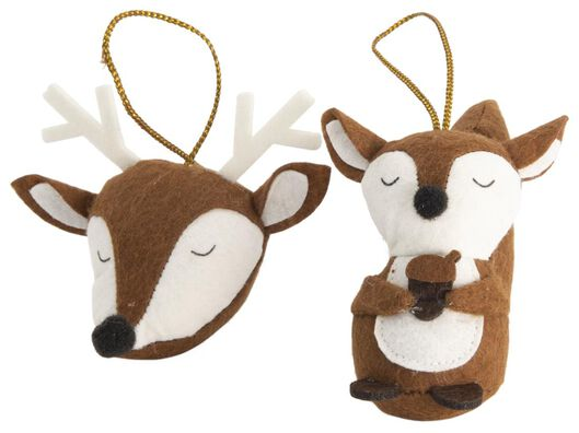 Image of HEMA 2 Christmas Hangers Felt Animal