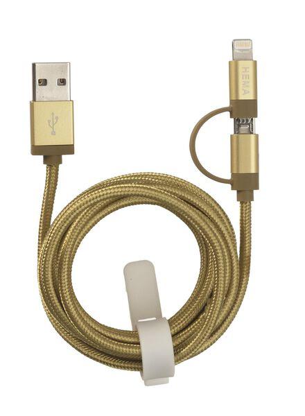 câble chargeur USB micro et 8 broches - 39650032 - HEMA