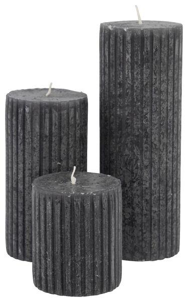 HEMA Rustieke Kaars Met Reliëf - 7x19 - Zwart (zwart)