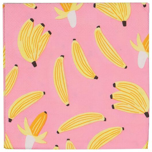 20er-Pack Servietten, 24 x 24 cm, Bananen - 14280119 - HEMA
