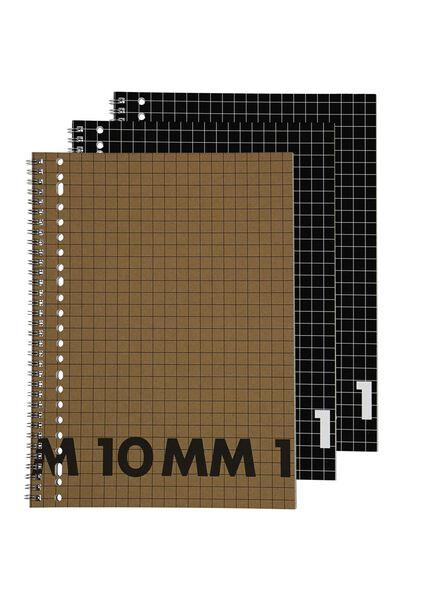 3 cahiers à spirale A4-à carreaux 10 x 10 mm - 14101644 - HEMA