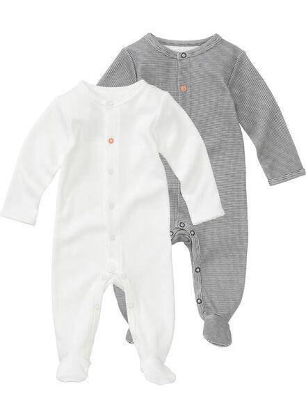 2-pack newborn jumpsuits organic cotton black/white black/white - 1000005706 - hema