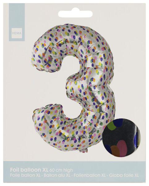 foil balloon XL number 3 - confetti silver 3 - 14230273 - hema