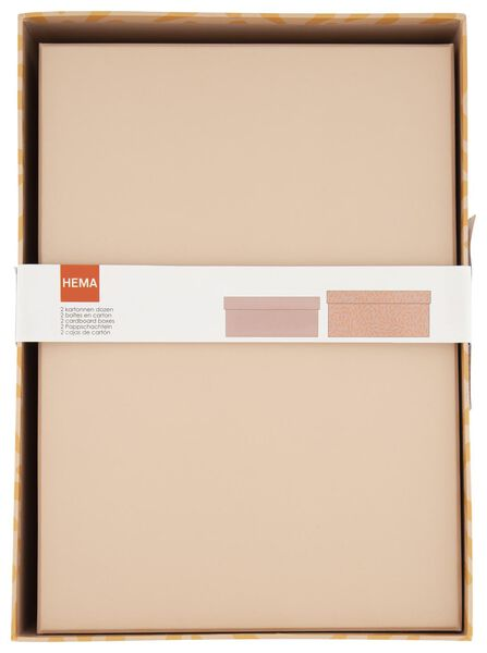 2 boîtes de rangement en carton - rose - 39890050 - HEMA