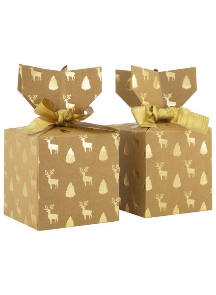 2er-Pack weihnachtliche Geschenkschachteln, 10 x 10 x 10 cm - 25700049 - HEMA