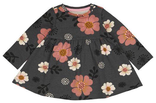 Babykleiderroecke - HEMA Baby Kleid, Blumen Grau - Onlineshop HEMA