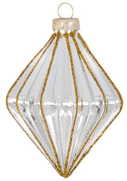 Glas-Baumschmuck, 9 cm, geriffelt, silbern - 25103807 - HEMA