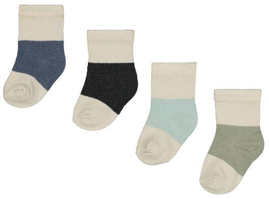 4er-Pack Baby-Socken mit Bambus, Colourblocking blau - 1000023520 - HEMA