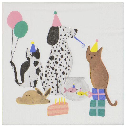 20 serviettes 33x33 en papier animaux en fête - 14200385 - HEMA