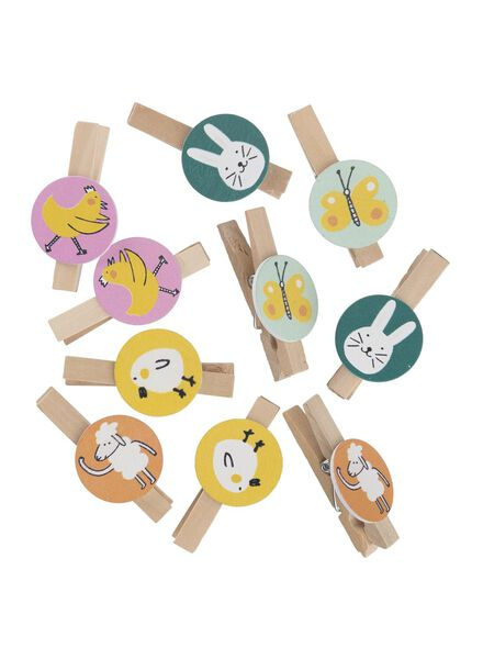 Image of HEMA 10-pack Wooden Pegs With Easter Figures