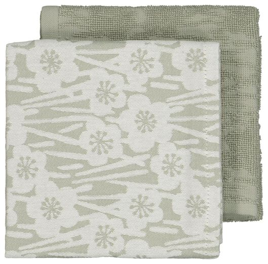 2 towels kitchen and tea - flowers - grey-green - 5420038 - hema
