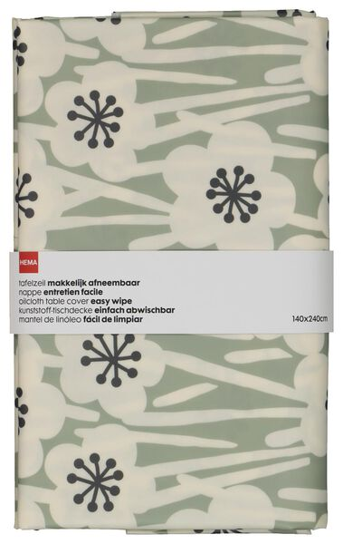 table oil-cloth 140x240 polyester flower grey/black - 5300116 - hema