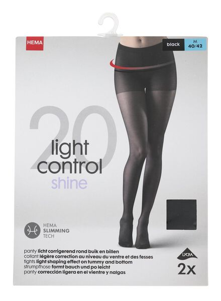 cd47cc713 2-pack tights 20 denier black black - 1000000929 - hema