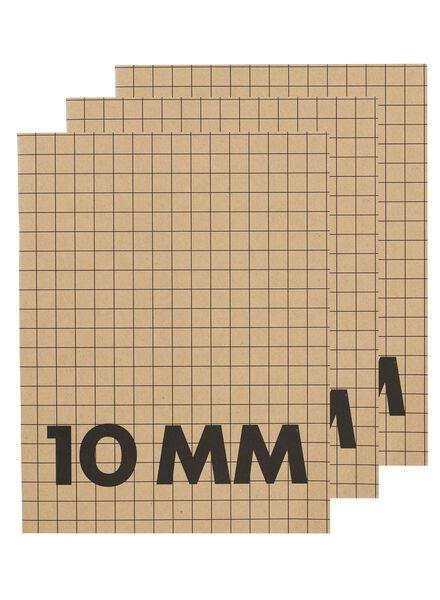 HEMA 3-pak Schriften A5 Geruit 10 Mm