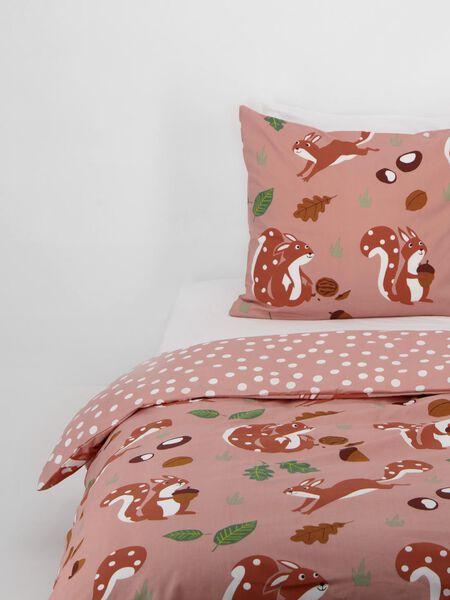 housse de couette enfant coton doux 140x200 écureuil rose - 5730050 - HEMA