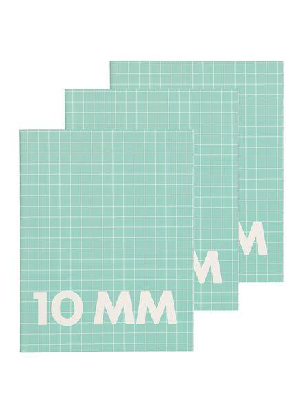 3 cahiers 16,5 x 21 cm - carreaux 10 mm - 14101600 - HEMA