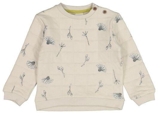 HEMA Baby-Sweatshirt, Gefüttert, Blumen Sandfarben