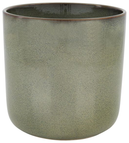 cache-pot Ø16x17.5 - vernis réactif - vert - 13322027 - HEMA