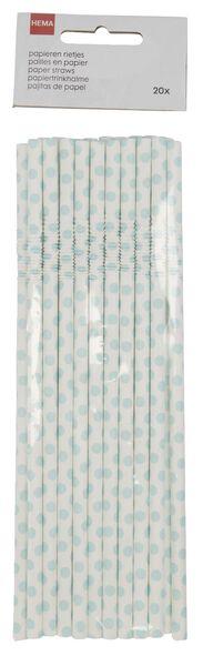 20 pailles en papier flexibles bleu clair - 14200522 - HEMA