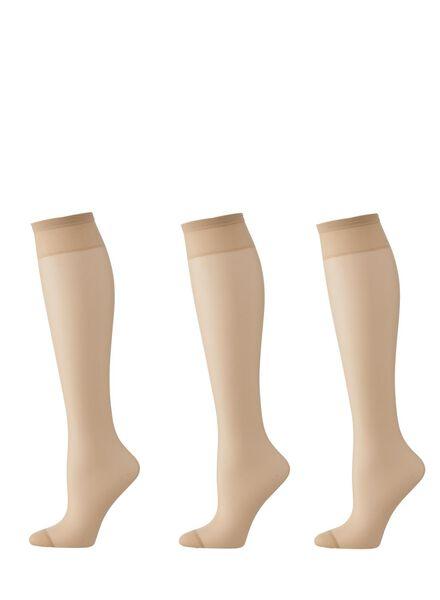 3-pack mat nylon knee-socks 20 denier powder one size - 4022566 - hema