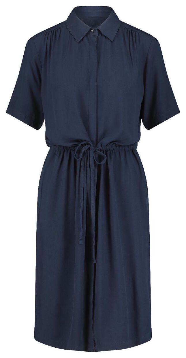 Damen-Kleid mit kurzen Ärmeln, Kragen und durchgehender ...
