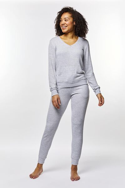 women's night top sweatshirt fabric grey melange grey melange - 1000022506 - hema